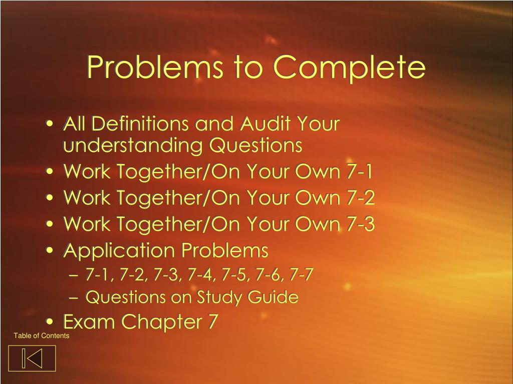 Problems to Complete