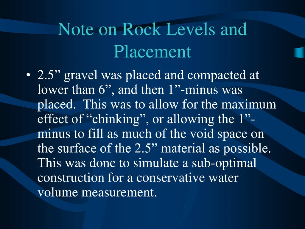 Note on Rock Levels and Placement