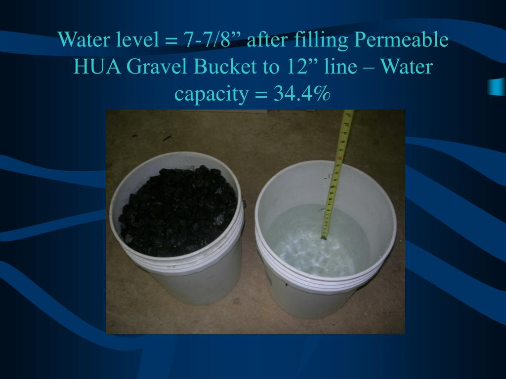"Water level = 7-7/8"" after filling Permeable HUA Gravel Bucket to 12"" line – Water capacity = 34.4%"