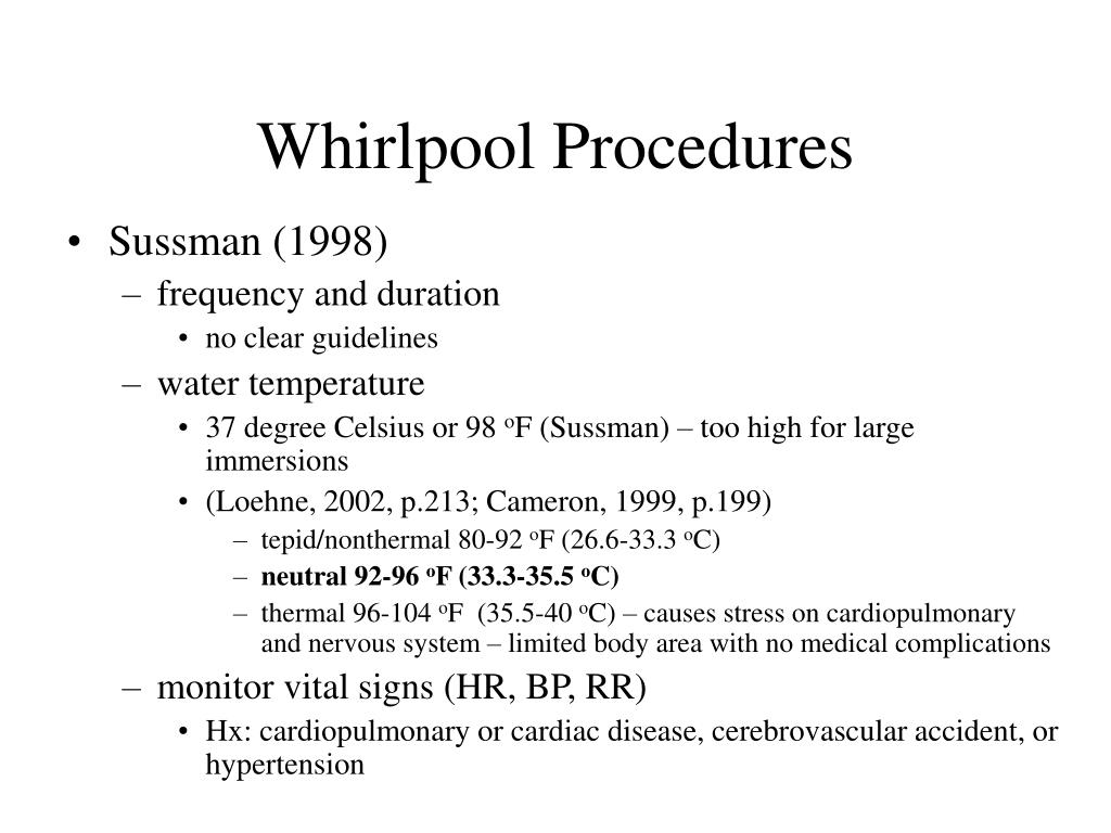 Whirlpool Procedures