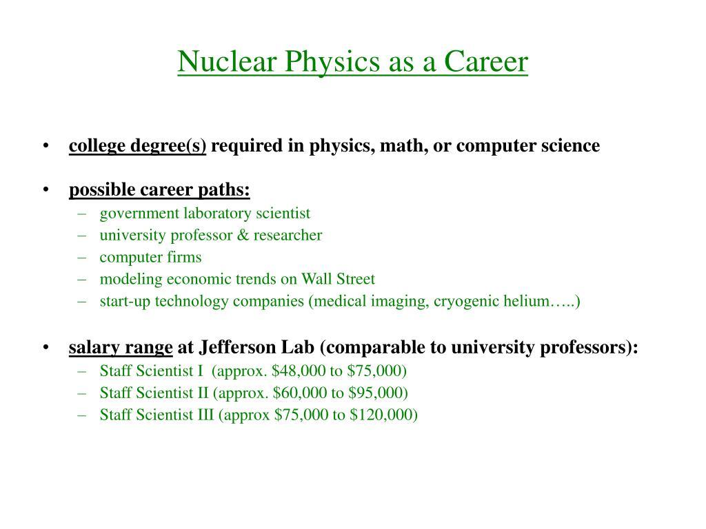 Nuclear Physics as a Career