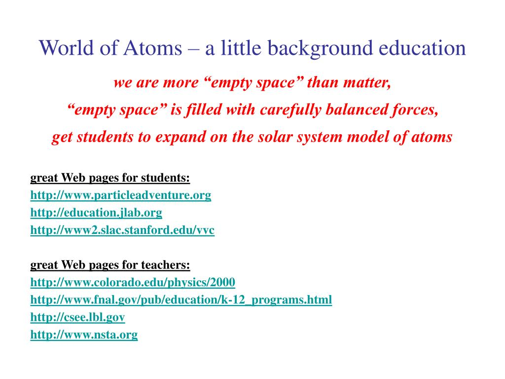 World of Atoms – a little background education