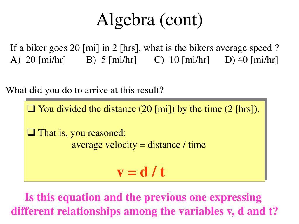 Algebra (cont)