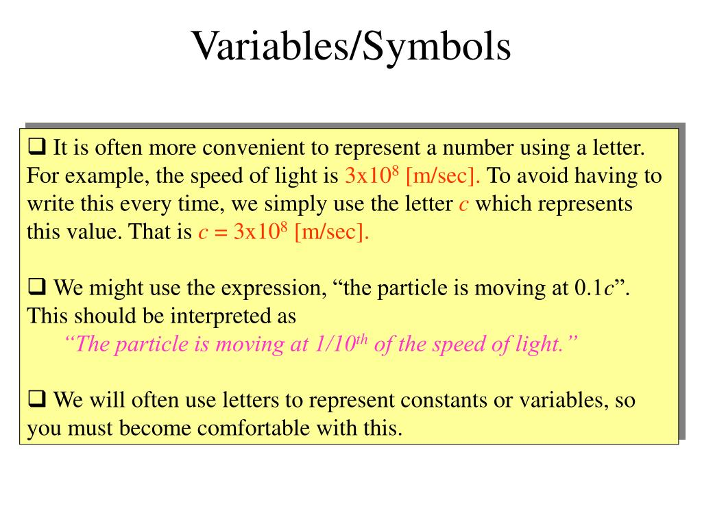 Variables/Symbols