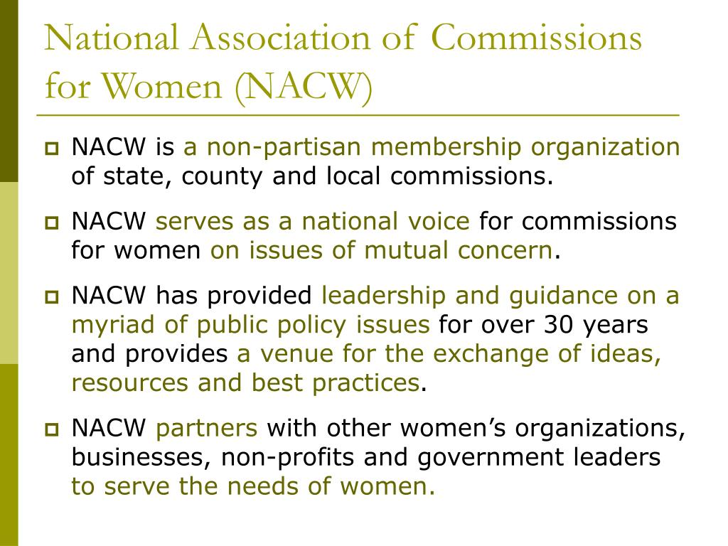 National Association of Commissions for Women (NACW)