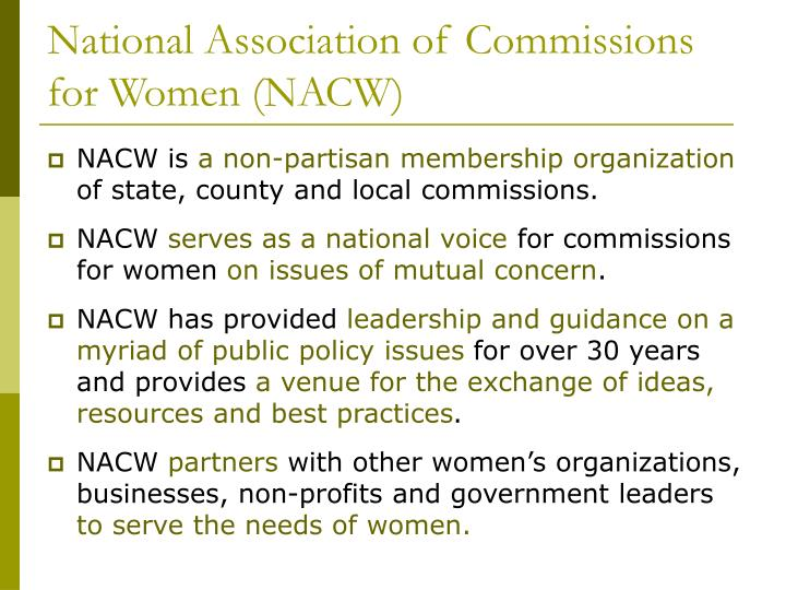 National association of commissions for women nacw