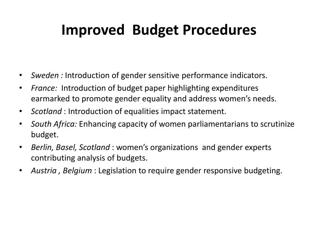 Improved  Budget Procedures