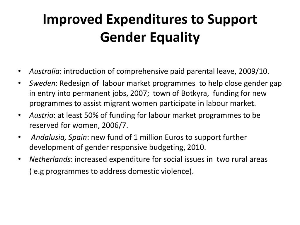 Improved Expenditures to Support Gender Equality