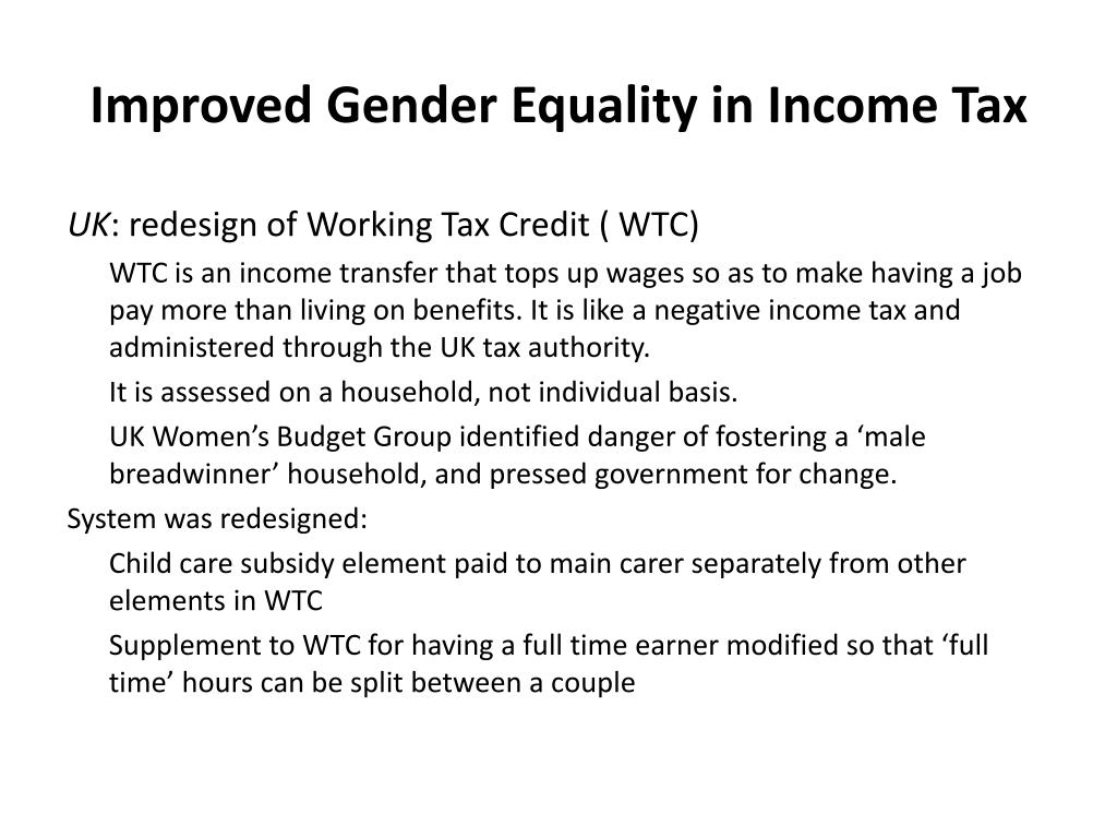 Improved Gender Equality in Income Tax