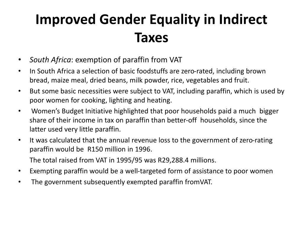 Improved Gender Equality in Indirect Taxes