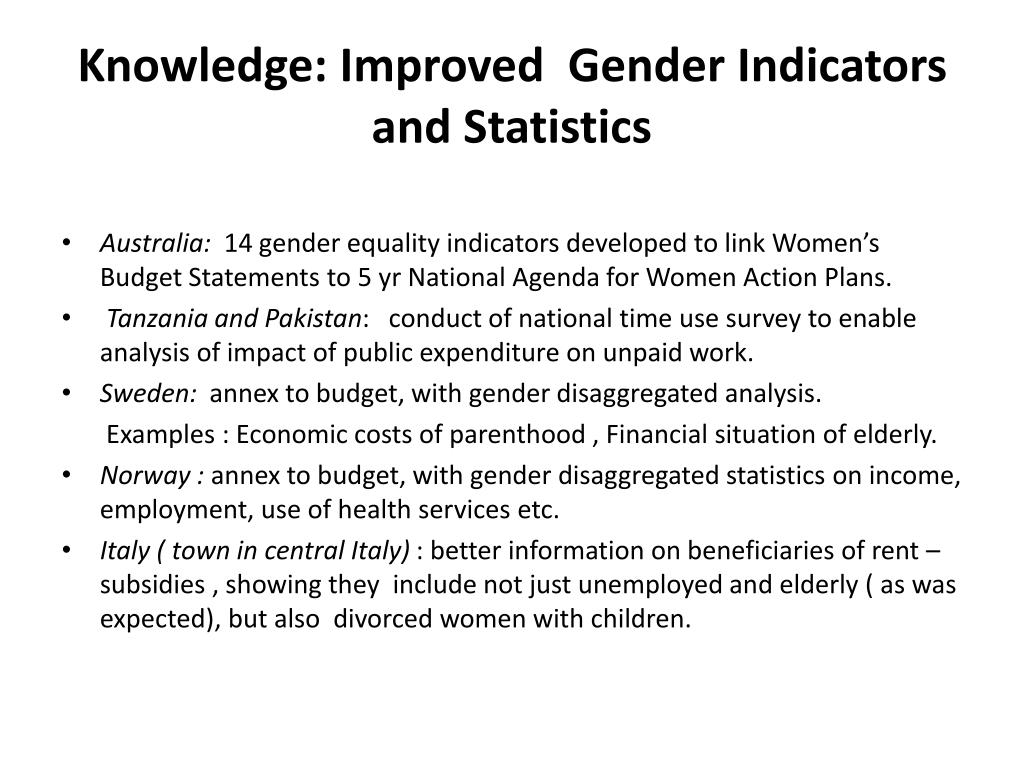 Knowledge: Improved  Gender Indicators and Statistics
