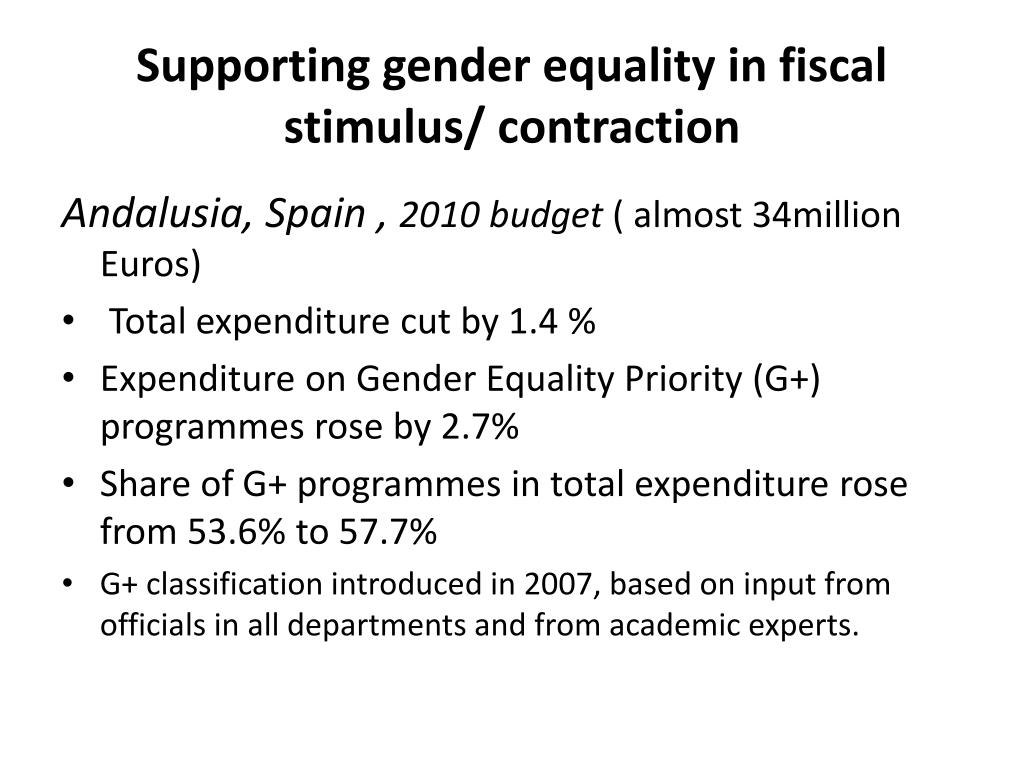 Supporting gender equality in fiscal stimulus/ contraction