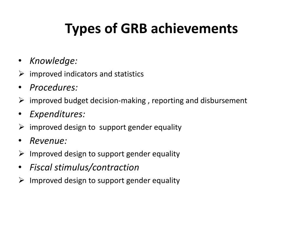 Types of GRB achievements