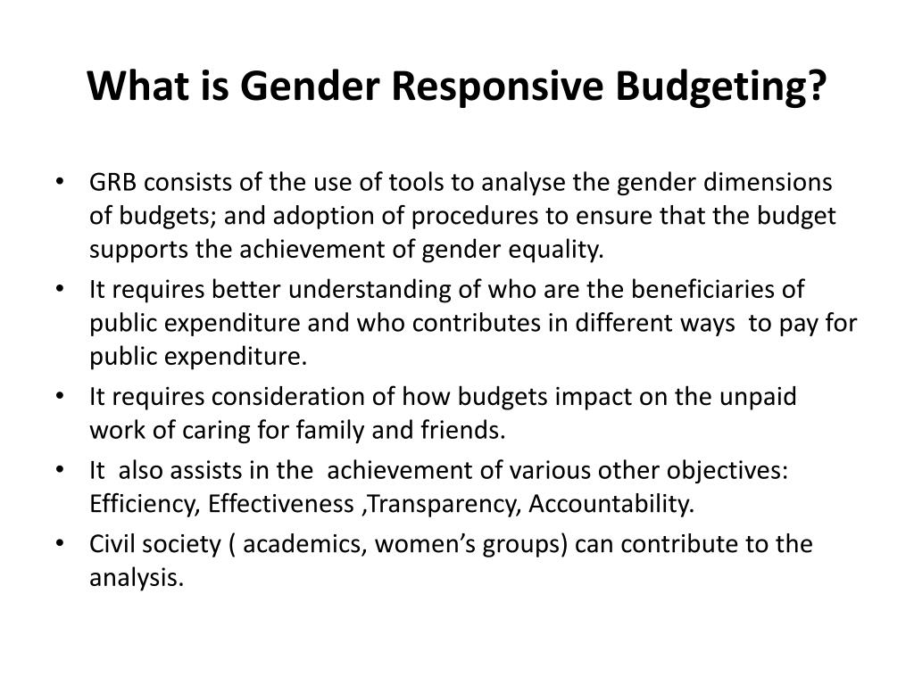What is Gender Responsive Budgeting?