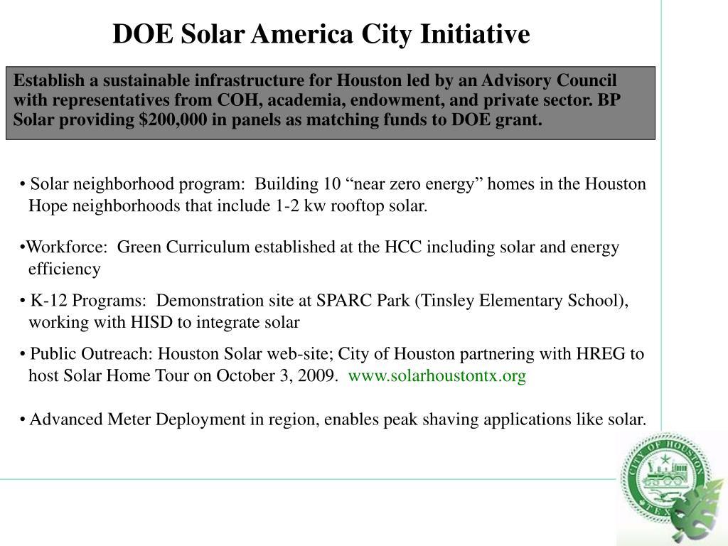 DOE Solar America City Initiative
