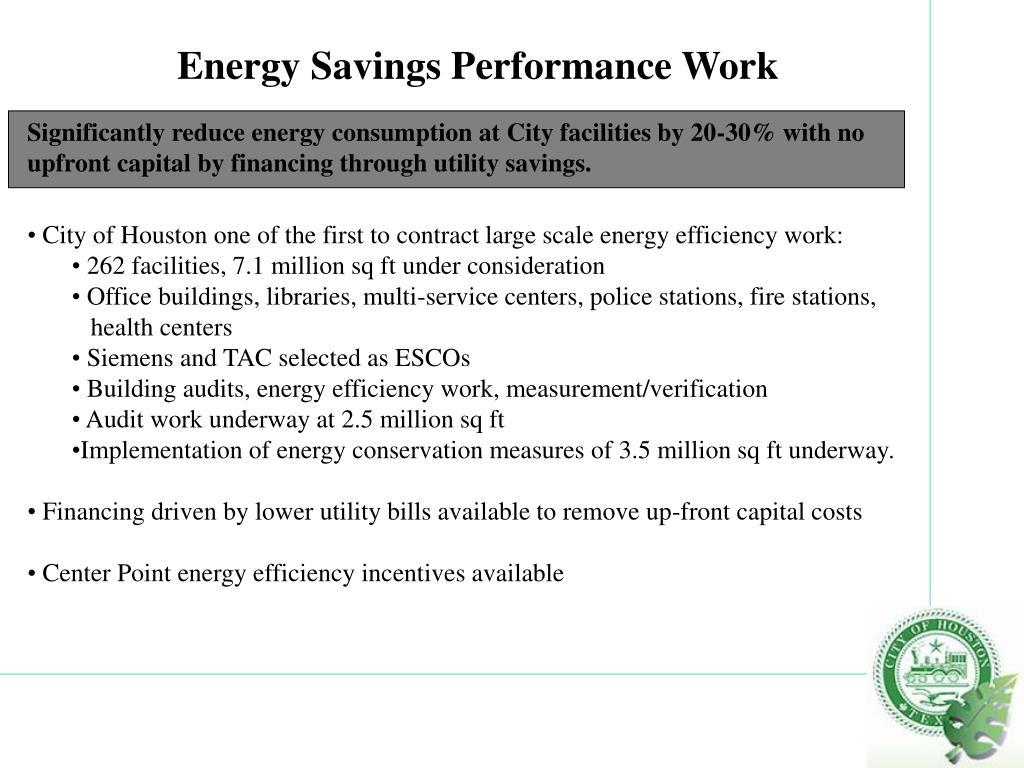 Energy Savings Performance Work