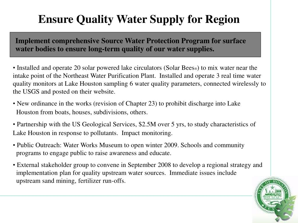 Ensure Quality Water Supply for Region