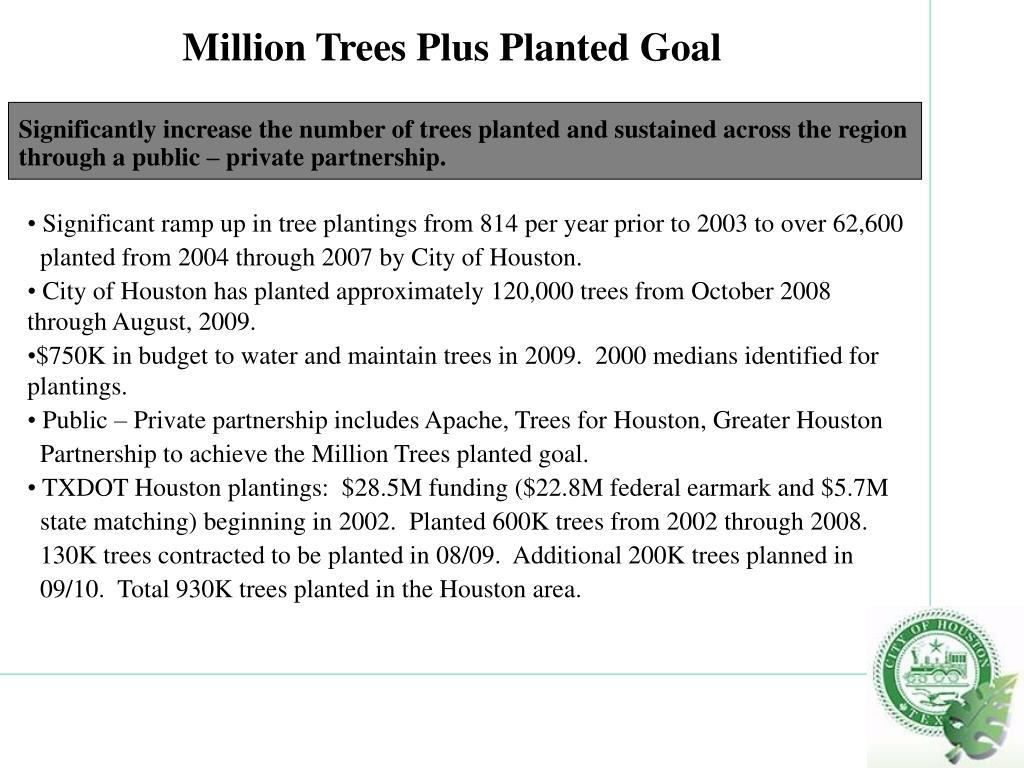 Million Trees Plus Planted Goal