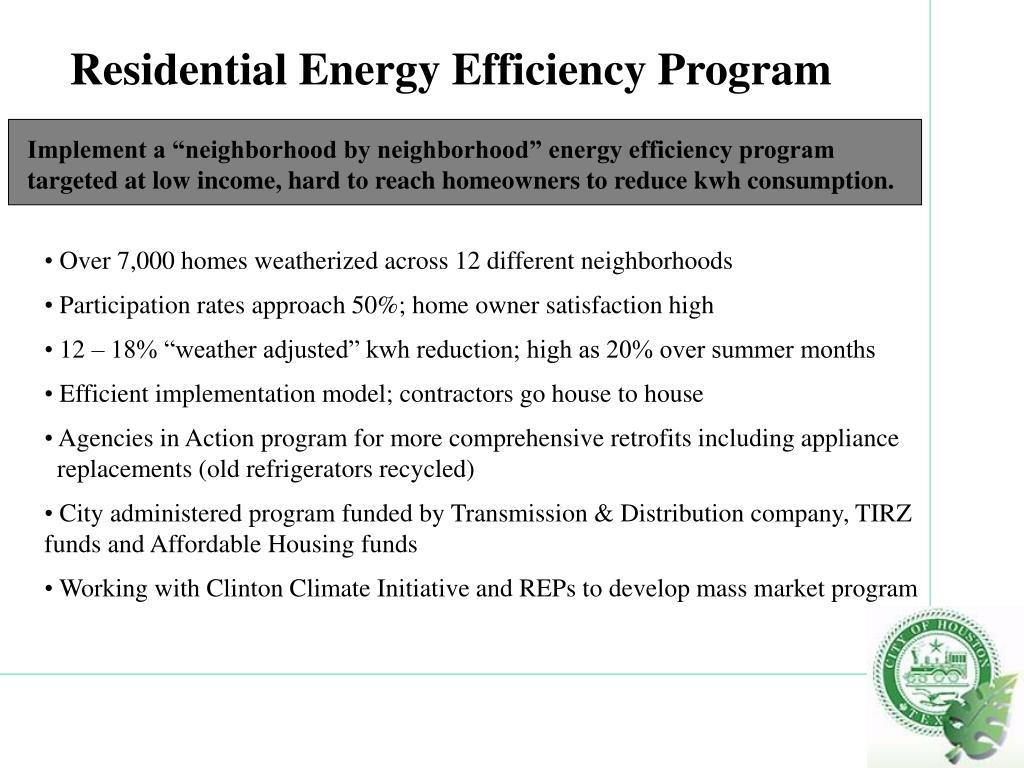 Residential Energy Efficiency Program