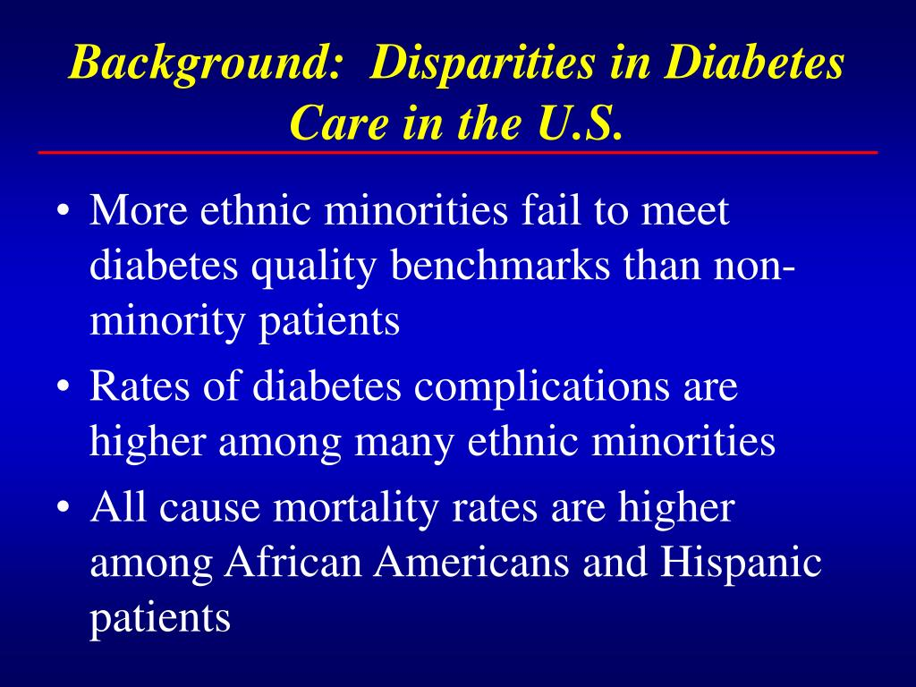 Background:  Disparities in Diabetes Care in the U.S.