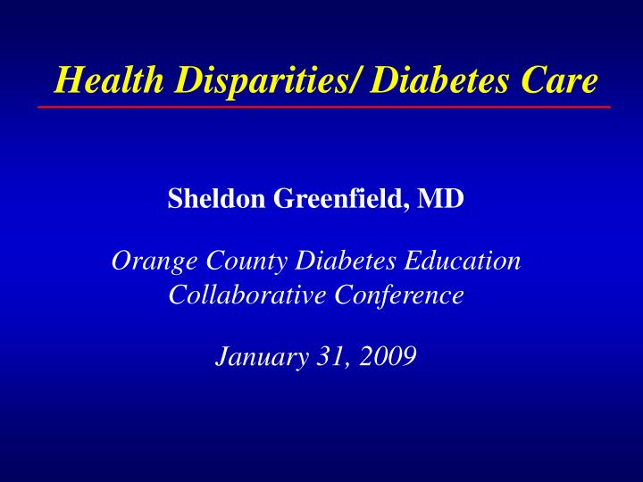 Health disparities diabetes care l.jpg