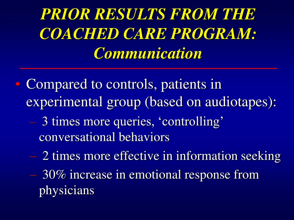 PRIOR RESULTS FROM THE COACHED CARE PROGRAM:  Communication