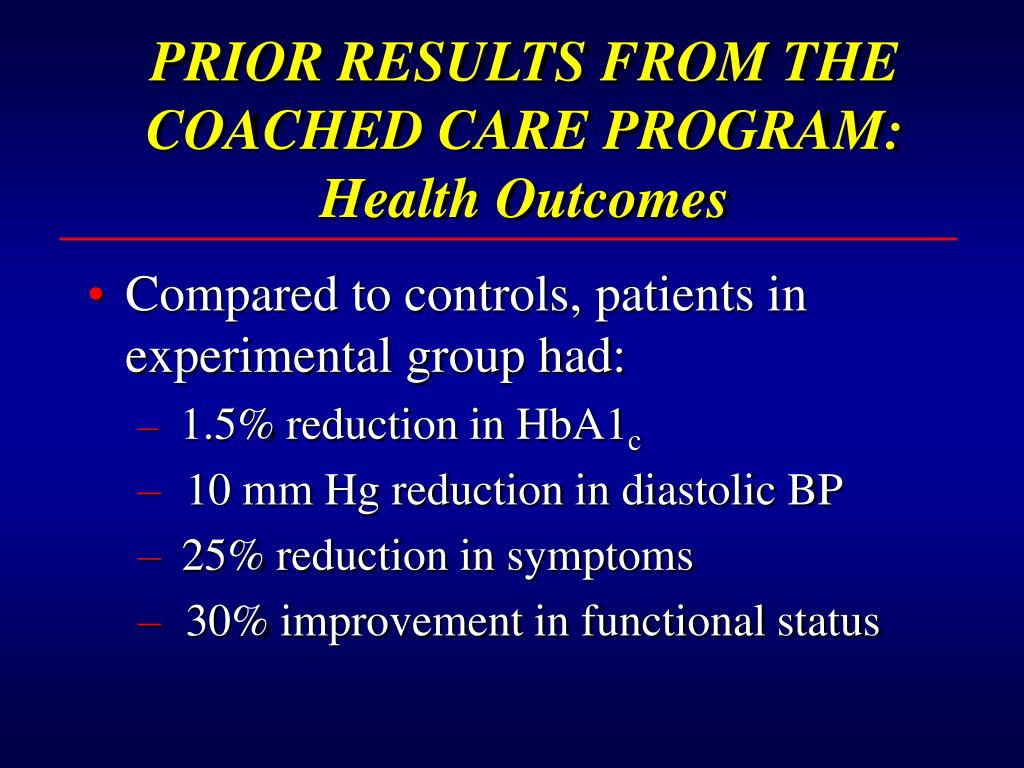 PRIOR RESULTS FROM THE COACHED CARE PROGRAM:  Health Outcomes