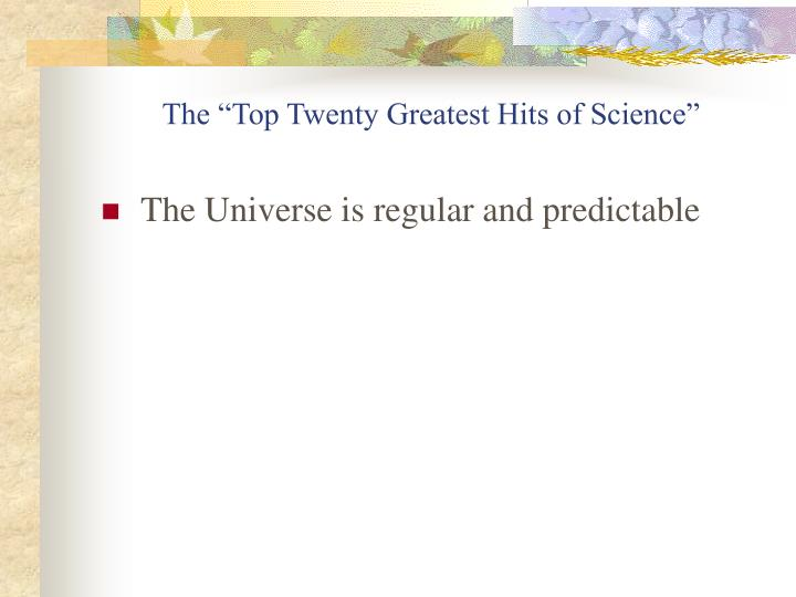 The top twenty greatest hits of science