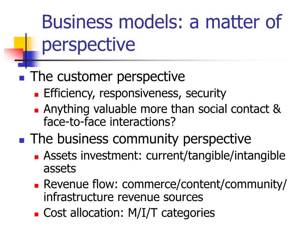 Business models: a matter of perspective