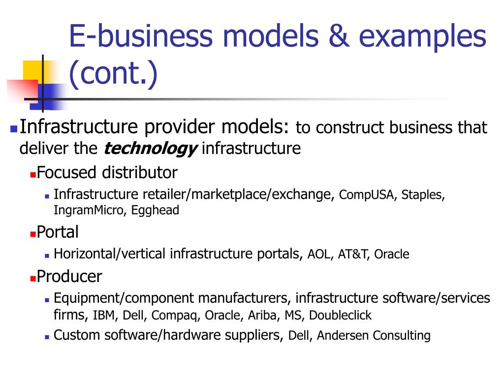E-business models & examples (cont.)
