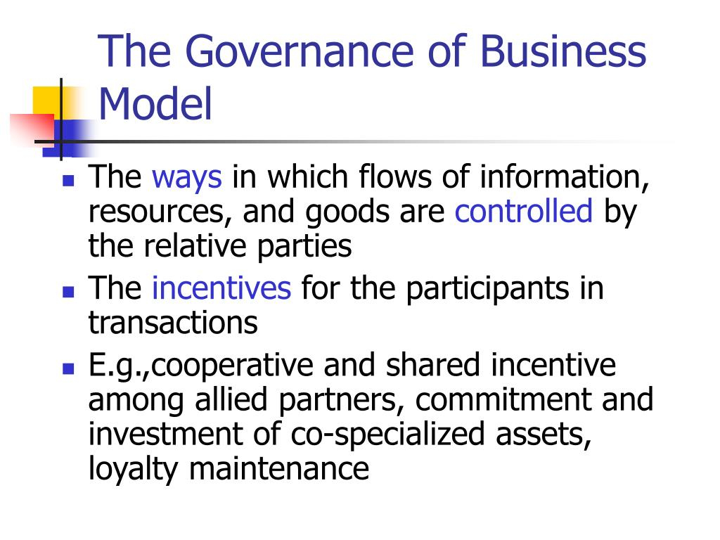 The Governance of Business Model