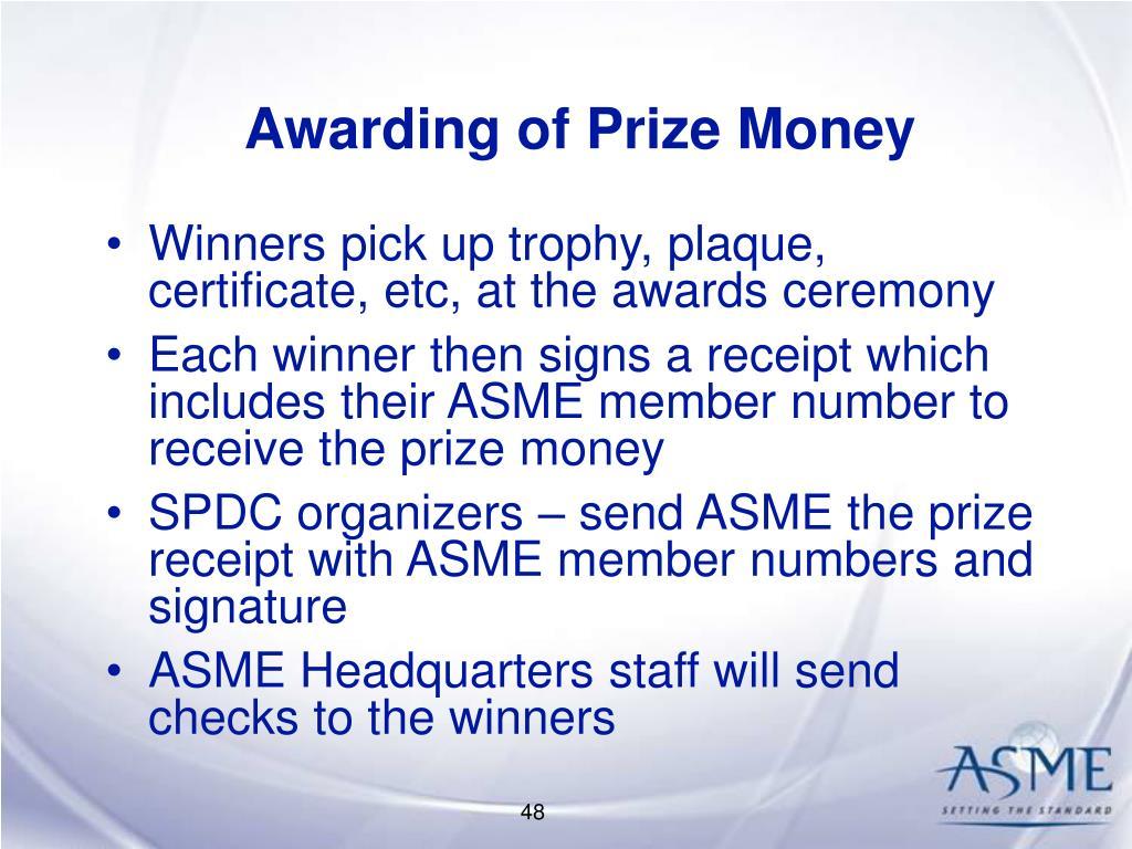 Awarding of Prize Money