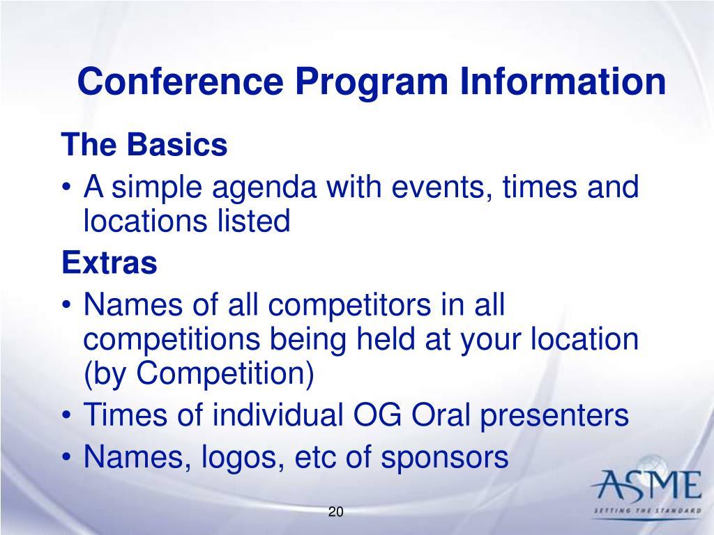 Conference Program Information