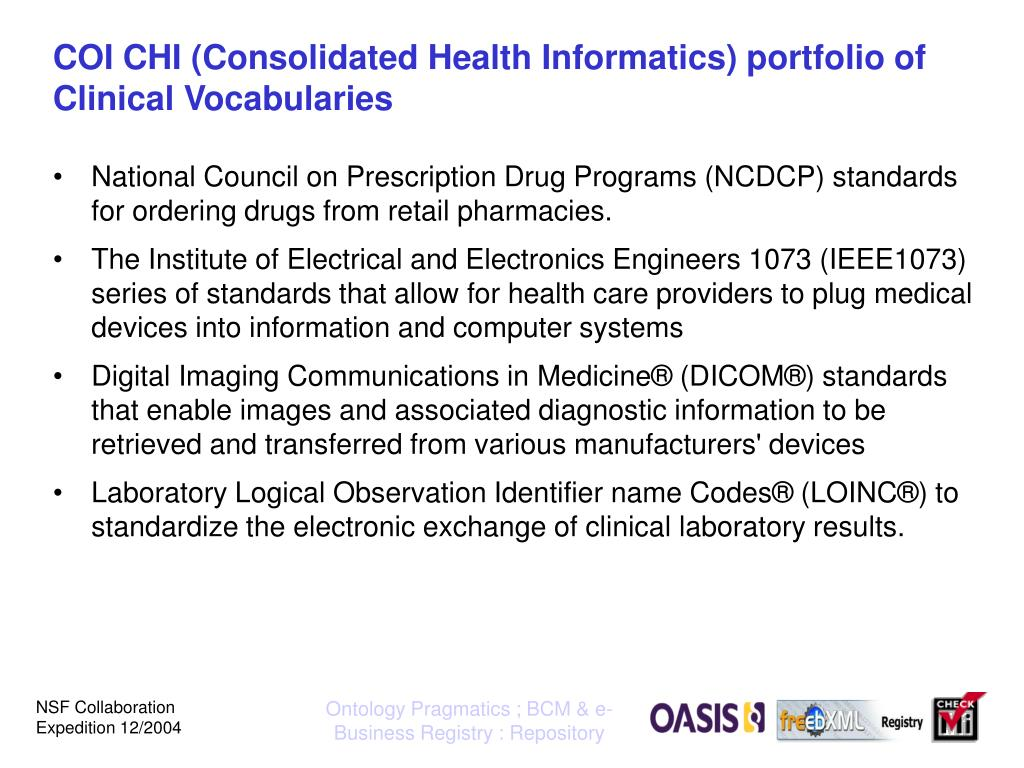 COI CHI (Consolidated Health Informatics) portfolio of Clinical Vocabularies