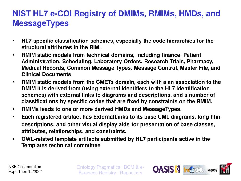 NIST HL7 e-COI Registry of DMIMs, RMIMs, HMDs, and MessageTypes