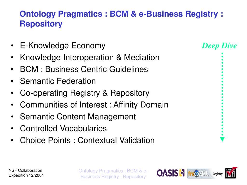 Ontology Pragmatics : BCM & e-Business Registry : Repository
