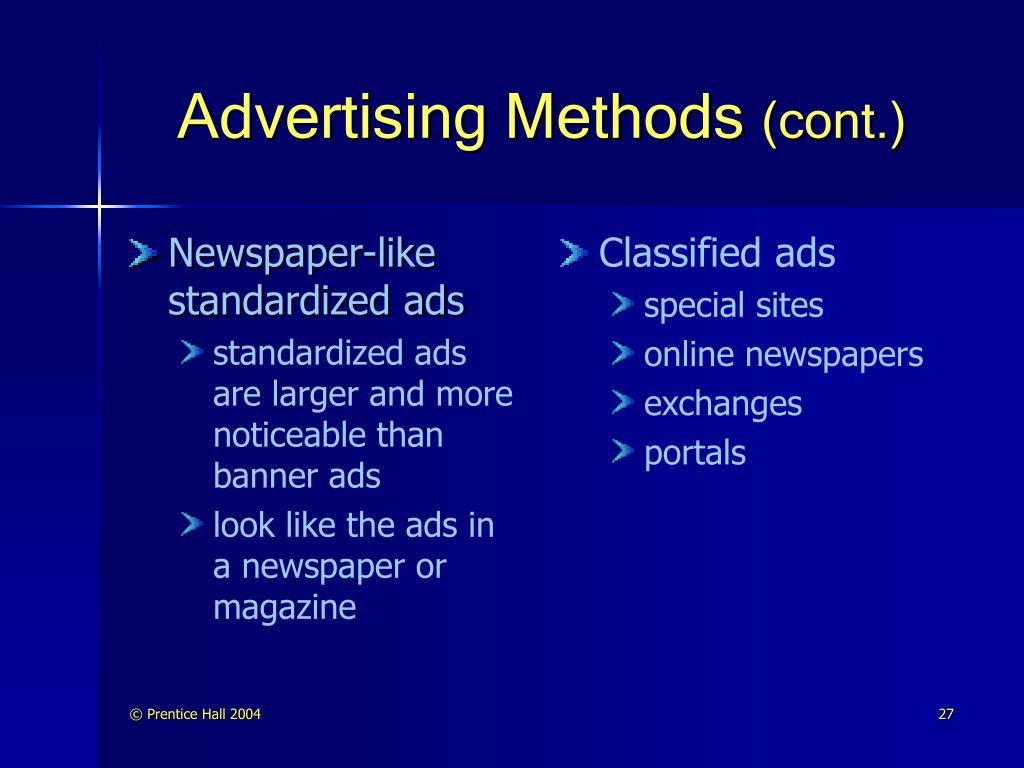 Newspaper-like standardized ads