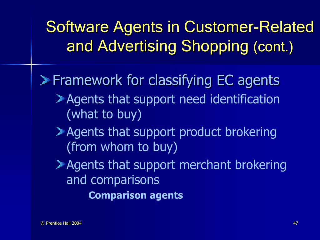 Software Agents in Customer-Related and Advertising Shopping
