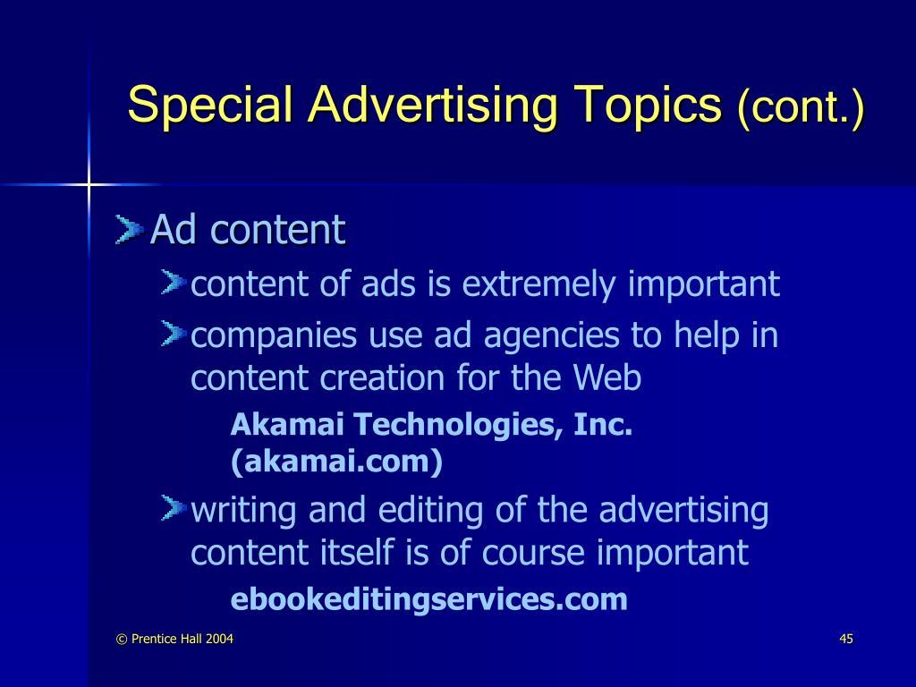Special Advertising Topics