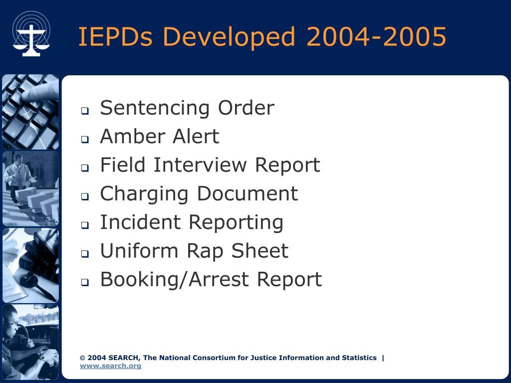 IEPDs Developed 2004-2005