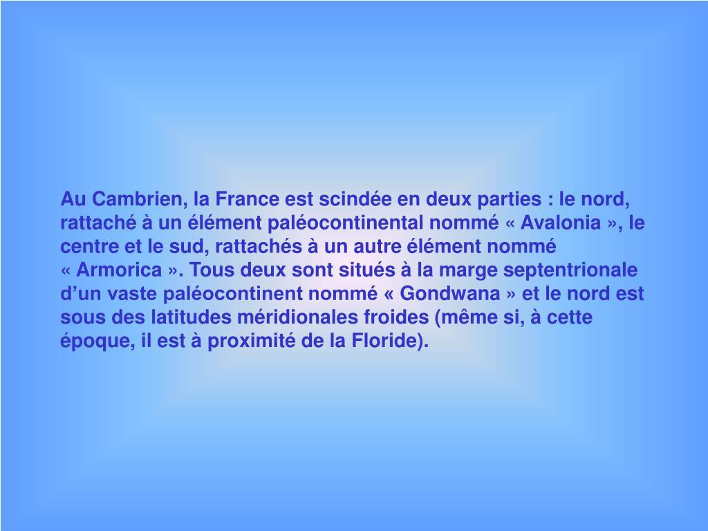 Au Cambrien, la France est scindée en deux parties : le nord, rattaché à un élément paléocontinental nommé «Avalonia», le centre et le sud, rattachés à un autre élément nommé «Armorica». Tous deux sont situés à la marge septentrionale d'un vaste paléocontinent nommé «Gondwana» et le nord est sous des latitudes méridionales froides (même si, à cette époque, il est à proximité de la Floride).