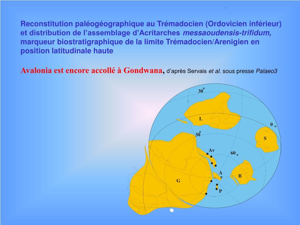 Reconstitution paléogéographique au Trémadocien (Ordovicien inférieur) et distribution de l'assemblage d'Acritarches