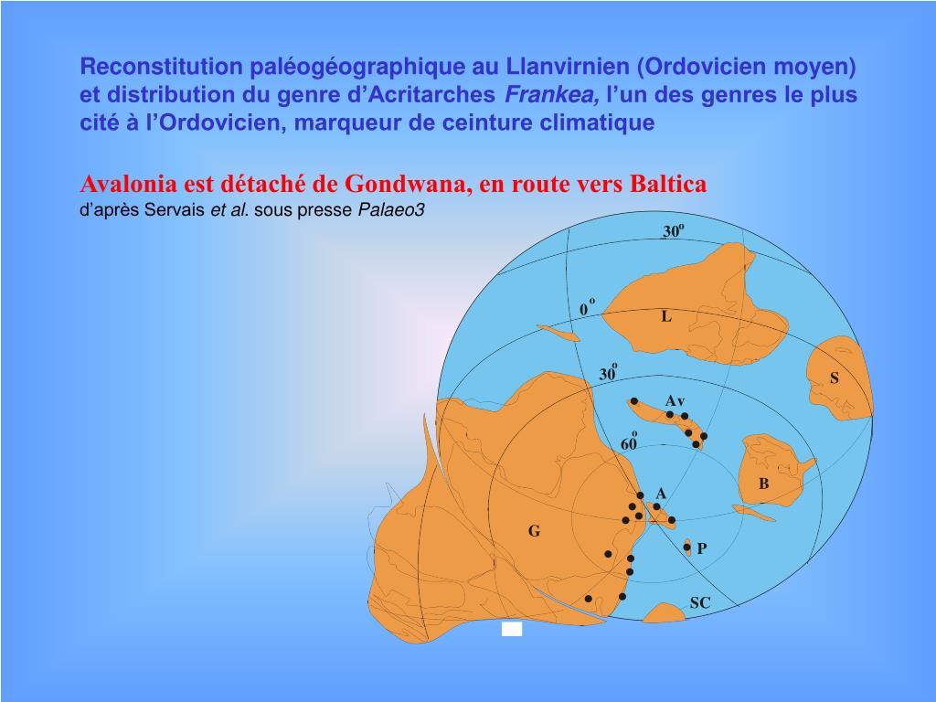 Reconstitution paléogéographique au Llanvirnien (Ordovicien moyen)