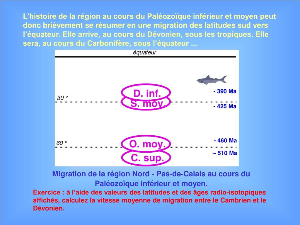 L'histoire de la région au cours du Paléozoïque inférieur et moyen peut donc brièvement se résumer en une migration des latitudes sud vers l'équateur. Elle arrive, au cours du Dévonien, sous les tropiques. Elle sera, au cours du Carbonifère, sous l'équateur ...