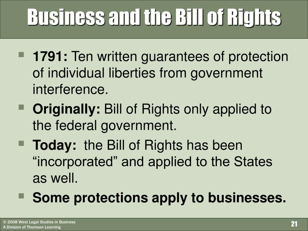 Business and the Bill of Rights