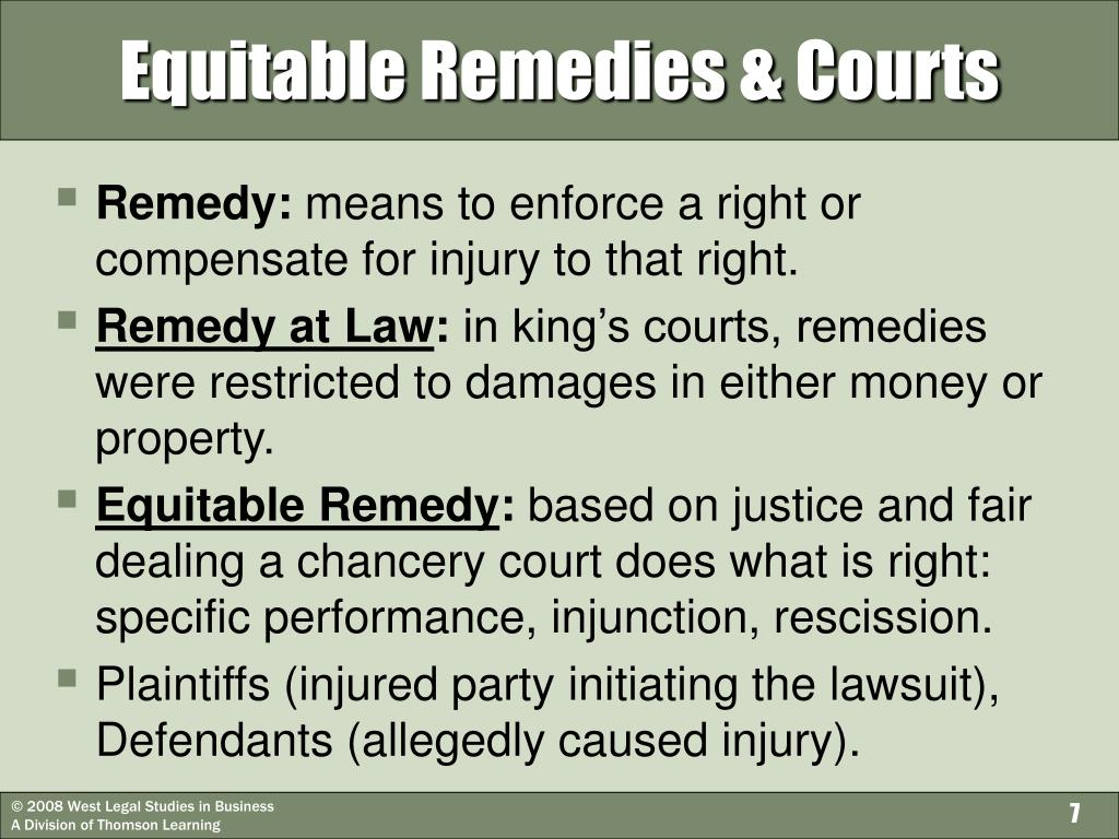 Equitable Remedies & Courts