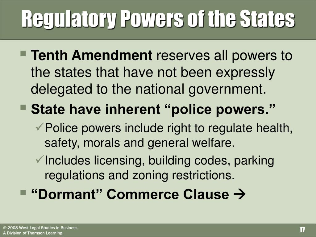 Regulatory Powers of the States