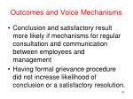 outcomes and voice mechanisms
