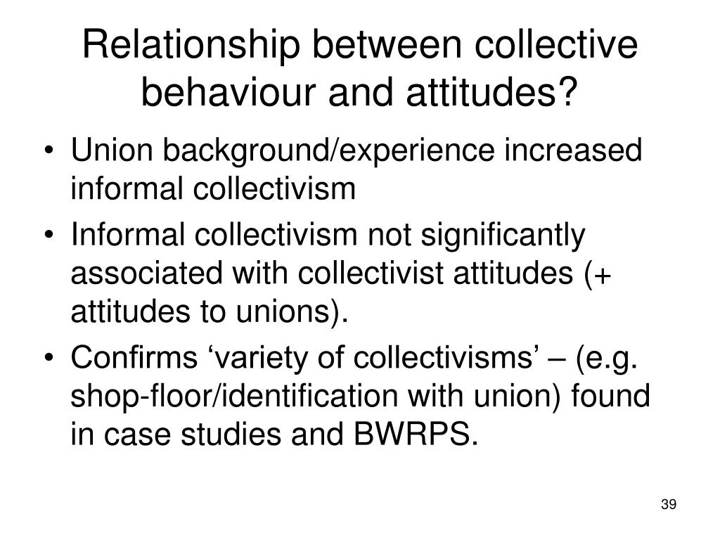 Relationship between collective behaviour and attitudes?