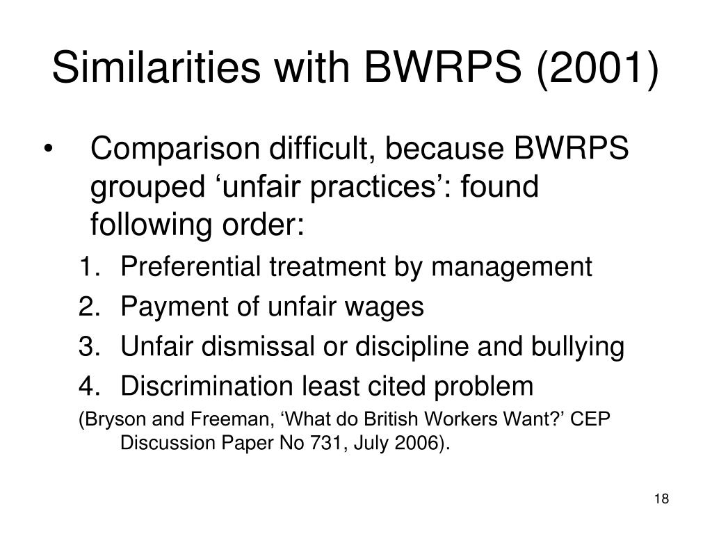 Similarities with BWRPS (2001)